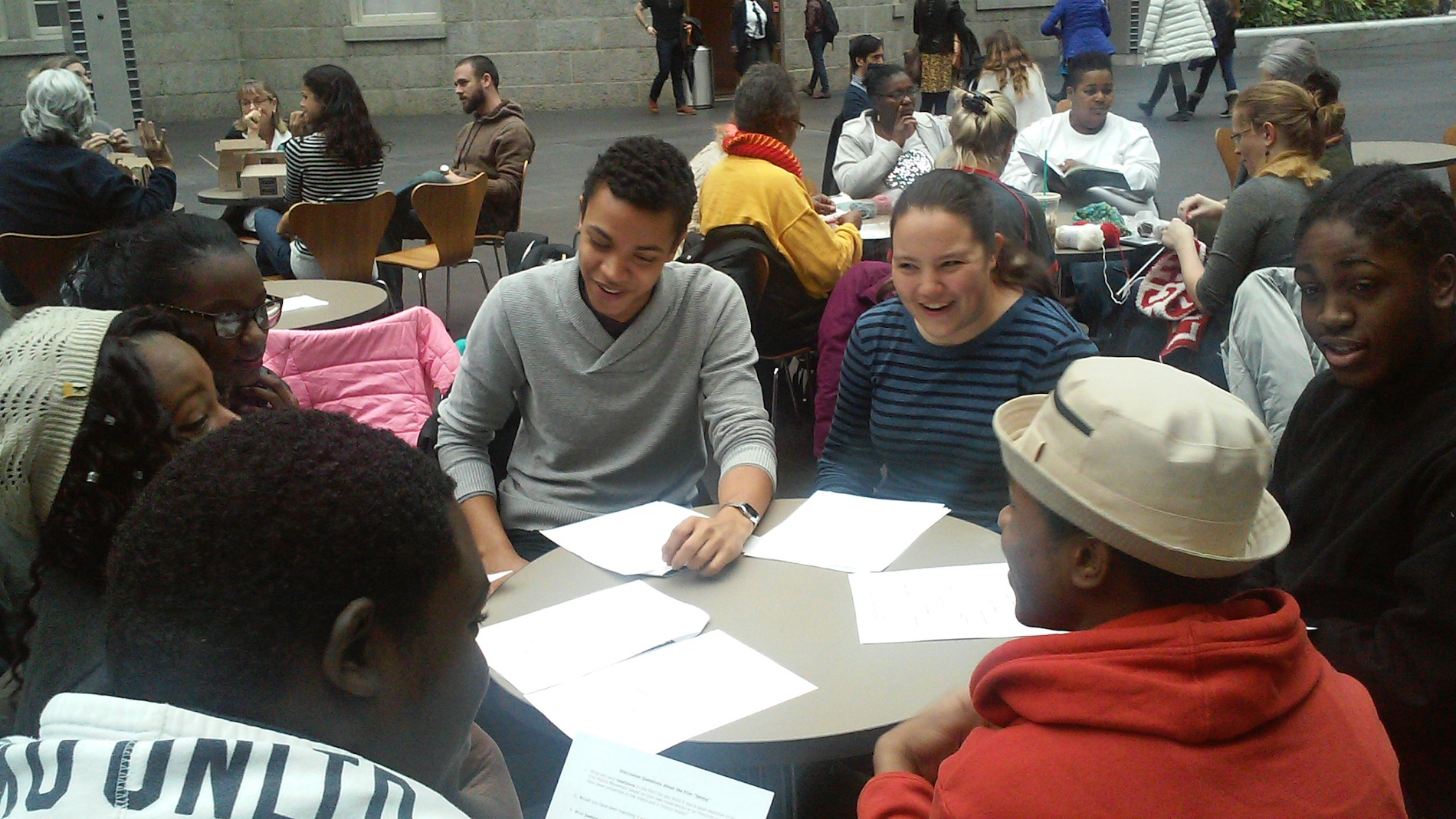 """Students discuss the film """"Selma"""" in the National Portrait Gallery."""