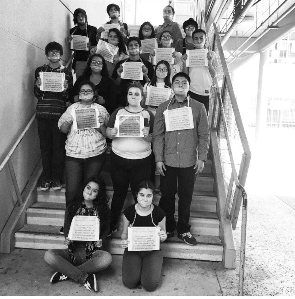 Members of the LGBTQIA+ Club at the Humanitas Academy of Art and Technology won an Upstander award for organizing a day of silence for those whose voices have been silenced by homophobia.