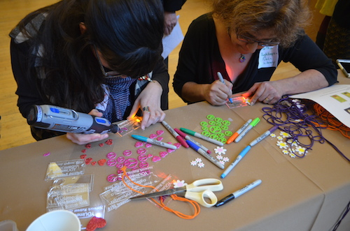 Educators craft at a YOUmedia retreat. Photos/K-Fai Steele